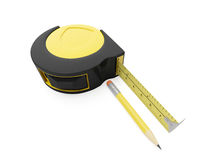 Pencil and ruler. 3d illustration: pencil and ruler on a white background Stock Photography