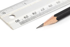 Pencil and ruler. Royalty Free Stock Photography