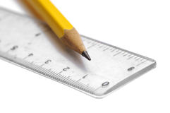 Pencil and ruler Stock Photo