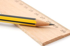 Pencil and ruler Royalty Free Stock Photo