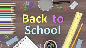 Pencil and ruler with Back to school text Stock Image