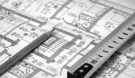 Pencil, ruler and a business plan Royalty Free Stock Image