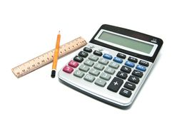 Pencil, ruler, calculator Royalty Free Stock Image