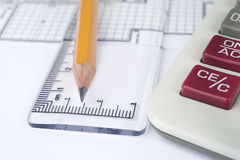 Pencil, ruler and calculator Royalty Free Stock Photography