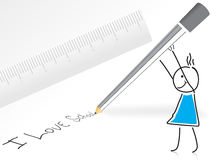Pencil and ruler with cartoon, vector Stock Photography