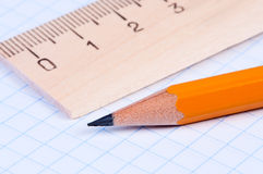 Pencil and ruler close-up. Royalty Free Stock Photography
