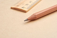 Pencil and ruler Stock Photography