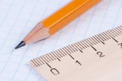 Pencil and ruler closeup. Royalty Free Stock Photo