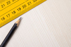 Pencil and ruler closeup on wooden Board Stock Photos