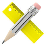 Pencil and ruler Royalty Free Stock Photography