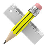 Pencil and ruler Stock Image
