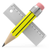 Pencil and ruler. 3d generated picture of a pencil and ruler stock illustration