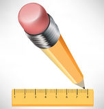 Pencil and ruler drawing Stock Images