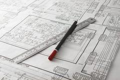 Pencil and ruler Stock Photos