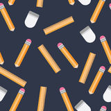 Pencil, ruler, eraser background pattern Stock Images