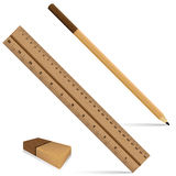 Pencil ruler and eraser on a wooden design. Ruler and pencil with eraser for wooden texture isolated on white background. Royalty Free Stock Image