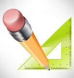 Pencil and ruler icons. Pencil and green ruler icons Royalty Free Stock Image