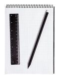 Pencil, ruler and notebook Royalty Free Stock Photo