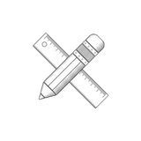 Pencil and ruler outline. Royalty Free Stock Images