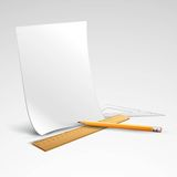 Pencil, ruler and a piece of paper. Vector Royalty Free Stock Images