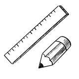 Pencil and ruler sketch icons Royalty Free Stock Images