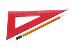 Pencil and ruler on a white background closeup Royalty Free Stock Photography