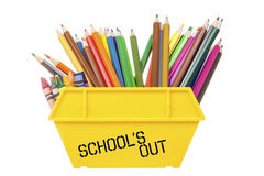 Pencil's and crayon's dumped in a yellow rubbish skip. End of school term pencil's and crayon's dumped in a yellow rubbish skip with 'school's out' stenciled on Royalty Free Stock Photo