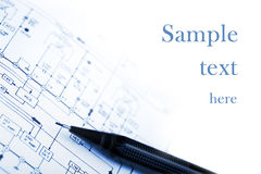 Pencil on a schematic diagram background royalty free stock photography