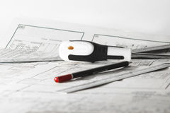 Pencil, screwdriver and ruler Royalty Free Stock Images