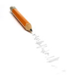 Pencil Scribble. A scribble mark leading to a nice sharp pencil stock images