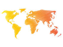 Pencil scribble sketch map of World. Hand doodle drawing. Vector illustration in warm colors on white background Stock Photos