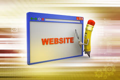 Pencil search the web page through magnifier Royalty Free Stock Photos