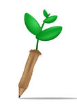 Pencil seedlings isolate background. Nature concept Stock Photos