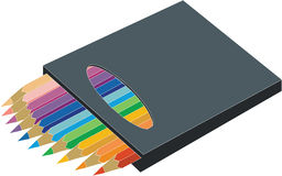 Pencil set 03. Pencil vector set in box vector illustration