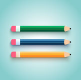 Pencil set flat design Stock Photo