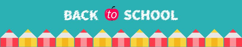 Pencil set line. Back to school card. Green background. Isolated. Red apple. Flat design vector illustration