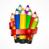 Pencil set. Ribbon Stock Photo