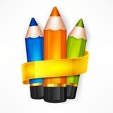 Pencil set. Ribbon Stock Image