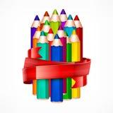 Pencil set. Ribbon Royalty Free Stock Images
