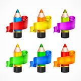 Pencil set. Ribbon Royalty Free Stock Photos