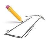 Pencil Shadow Arrow Growth Stock Photography