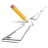 Pencil Shadow Arrows Growth Stock Photo
