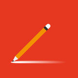 Pencil with shadow on orange background Royalty Free Stock Images