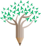 Pencil shape with nature logo concept. Has been created as vector Stock Photo