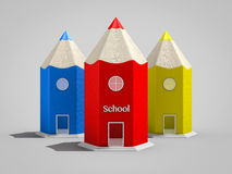 Pencil shape school buildings. School buildings in shape of colored pencils Royalty Free Stock Photos