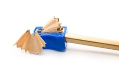 Pencil and shapner. On white background stock photo