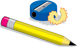 Pencil and sharpener. High detail illustration of pencil and pencil sharpener Stock Images