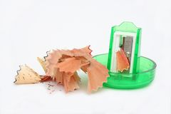 Pencil sharpener. And pencil shavings Stock Photo