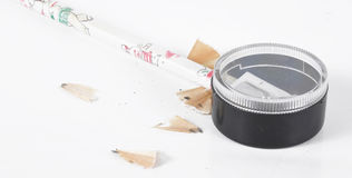 A pencil is in a sharpener Royalty Free Stock Photos