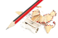 Pencil and sharpener. On a white background Stock Photo